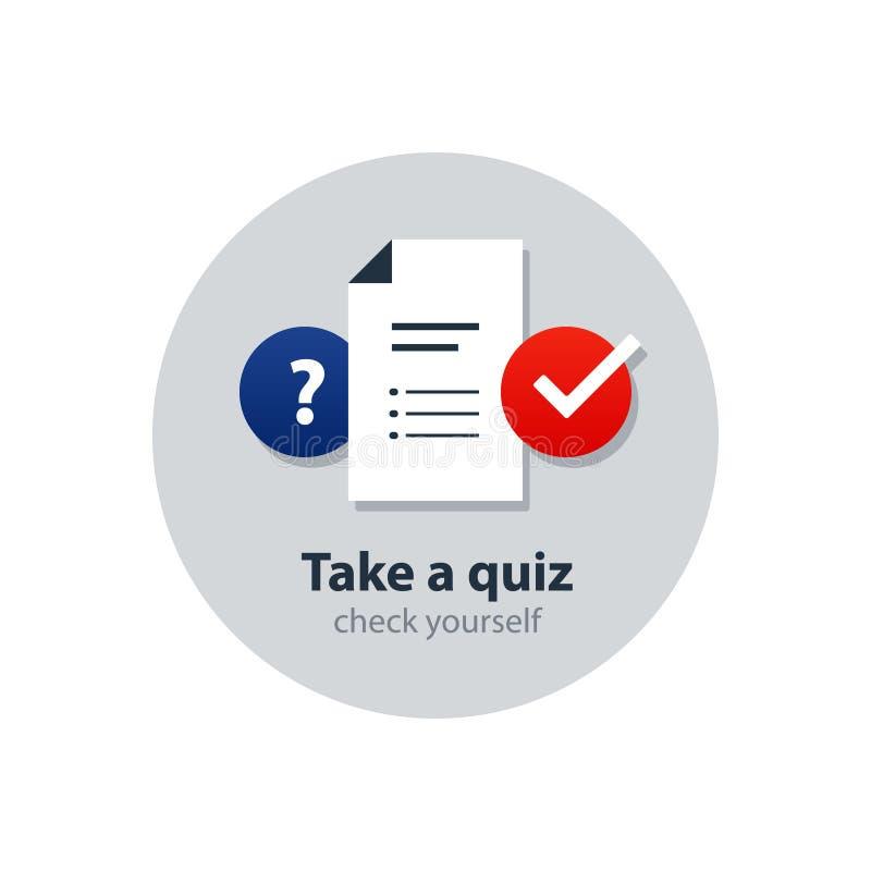 Questionair, concepto de la encuesta, servicios de asesoramiento, clases particulares e iconos de la dirección libre illustration