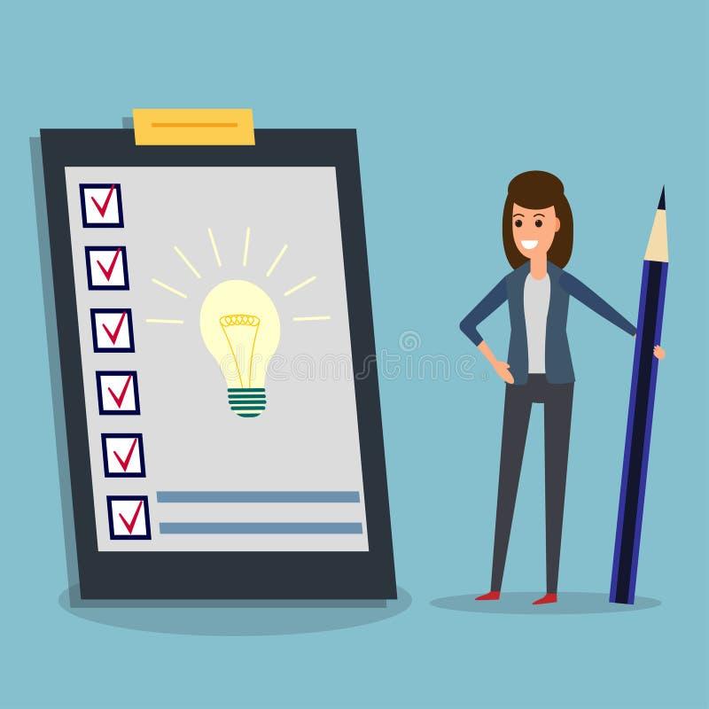 Questionario, donna di affari, matita, lampadina di idea illustrazione vettoriale