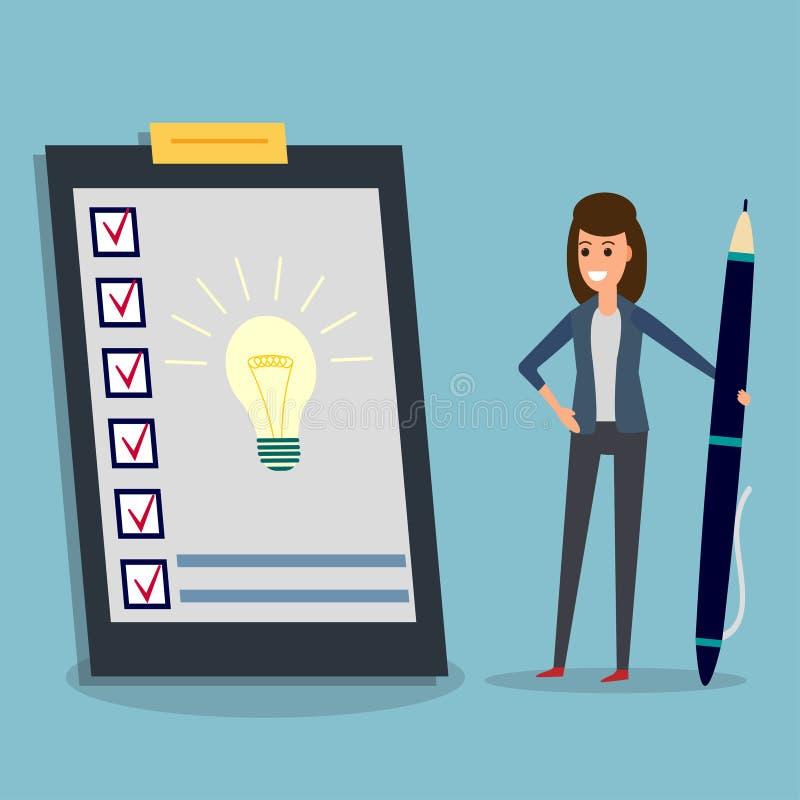 Questionario, donna di affari, penna, lampadina di idea royalty illustrazione gratis