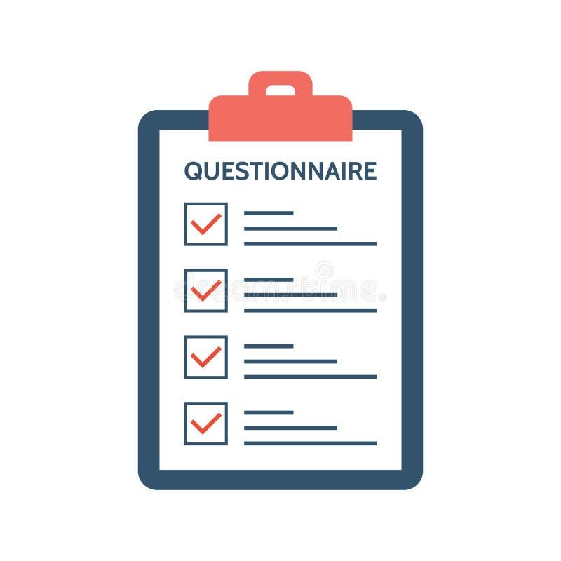 Questionario, indagine e rapporto su una carta della lavagna per appunti Concetto di risposte Lista di controllo con i segni di s illustrazione vettoriale