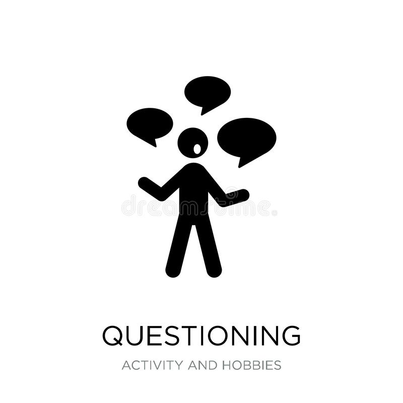 questioning icon in trendy design style. questioning icon isolated on white background. questioning vector icon simple and modern royalty free illustration