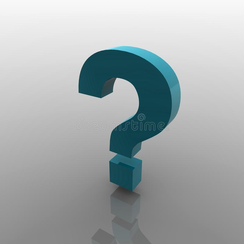 questionmark 3d zyan lizenzfreie stockfotografie