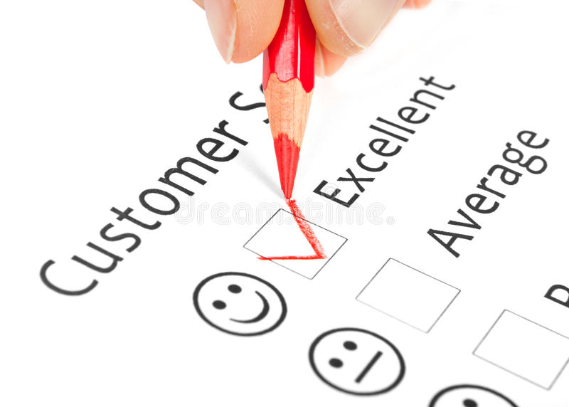 Questionnaire checkbox on customer service satisf. Action survey form isolated on white stock image