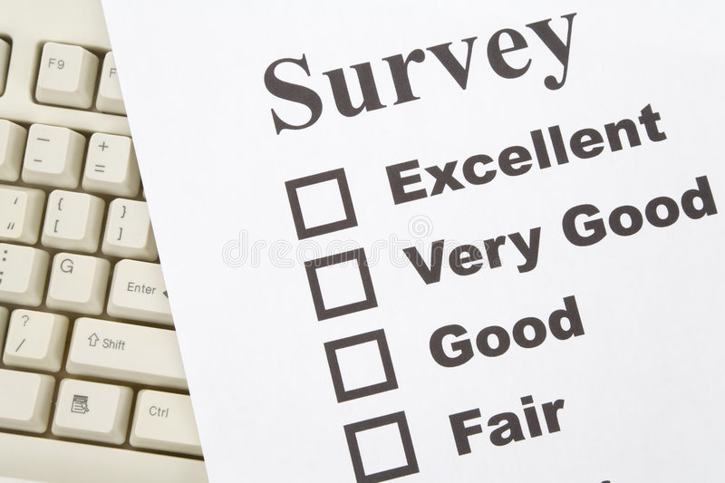 Questionnaire and computer keyboard royalty free stock photos