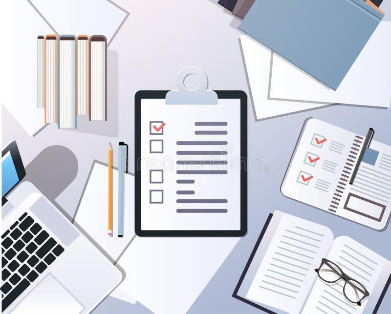 Questionnaire de bureau de essai de papier d'ordinateur portable de vue d'angle supérieur de concept d'enquête client de liste de illustration de vecteur
