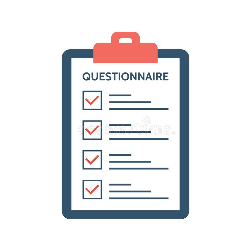Questionnaire, survey and report on a clipboard paper. Feedback concept. Checklist with tick marks in flat style. Application form vector illustration