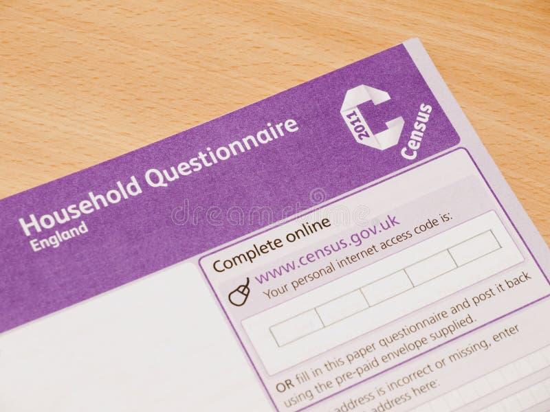 Questionnarie 2011 di censimento del Regno Unito immagini stock