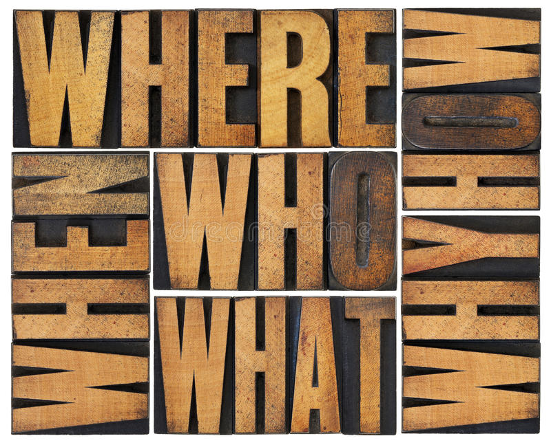 Questions abstract in wood type stock photography