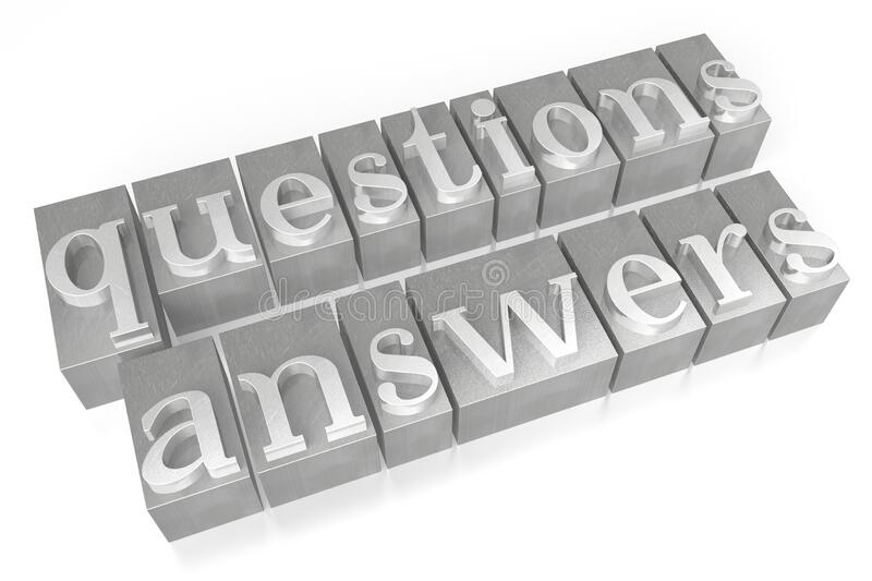 Questions and answers - letterpress - 3D illustration stock image