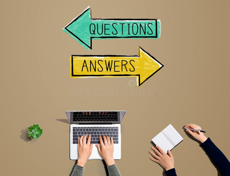Questions and answers with people working together. With laptop and notebook stock illustration