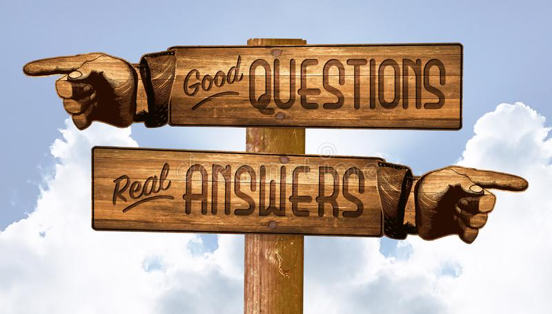 Questions and Answers Sign Pointing Fingers Q&A. Good Real Tough Hard Wooden Old West Business stock illustration