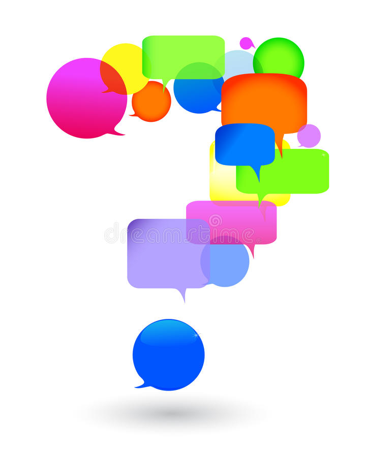 Questions and answers. speech bubble. Speech bubble questions and answers. social networks talk bubbles royalty free illustration