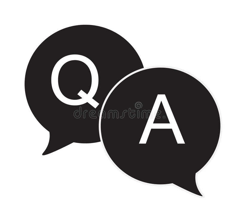 Questions & answers speech bubbles flat icon royalty free illustration