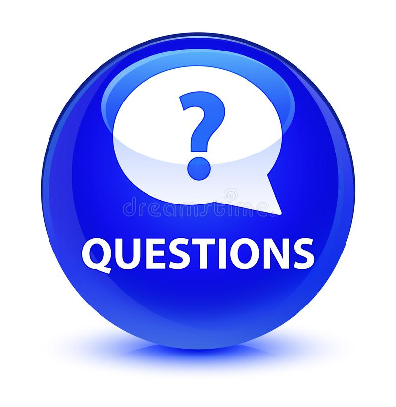 Questions (bubble icon) glassy blue round button vector illustration