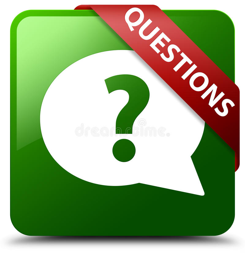 Questions bubble icon green square button stock illustration