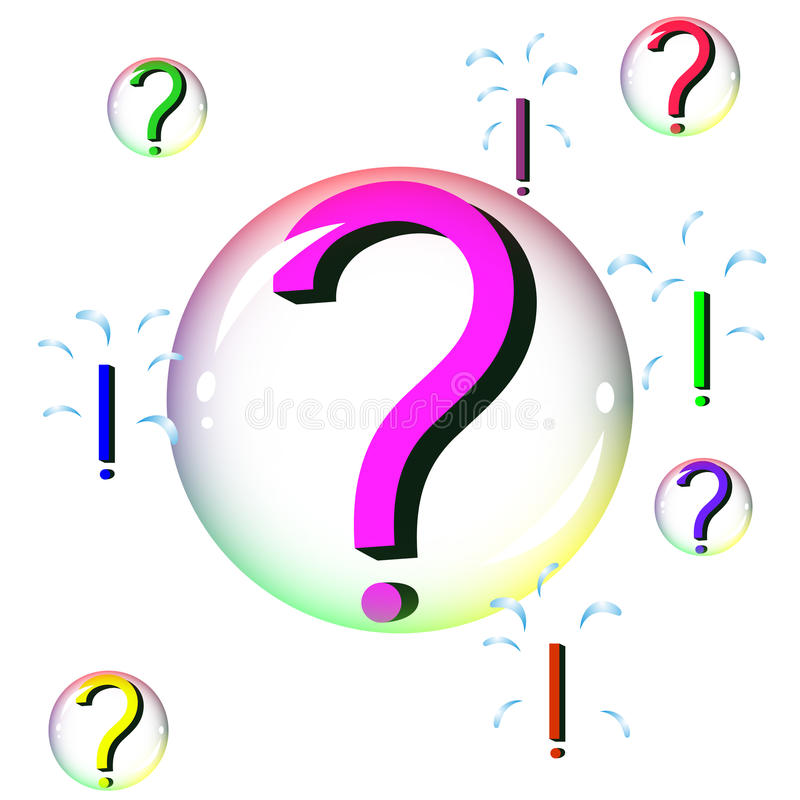 Questions in bubbles become answers when bubbles burst royalty free stock photos