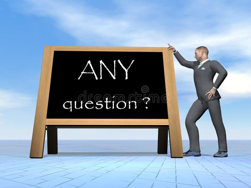 Questions d'homme d'affaires - 3D rendent illustration stock