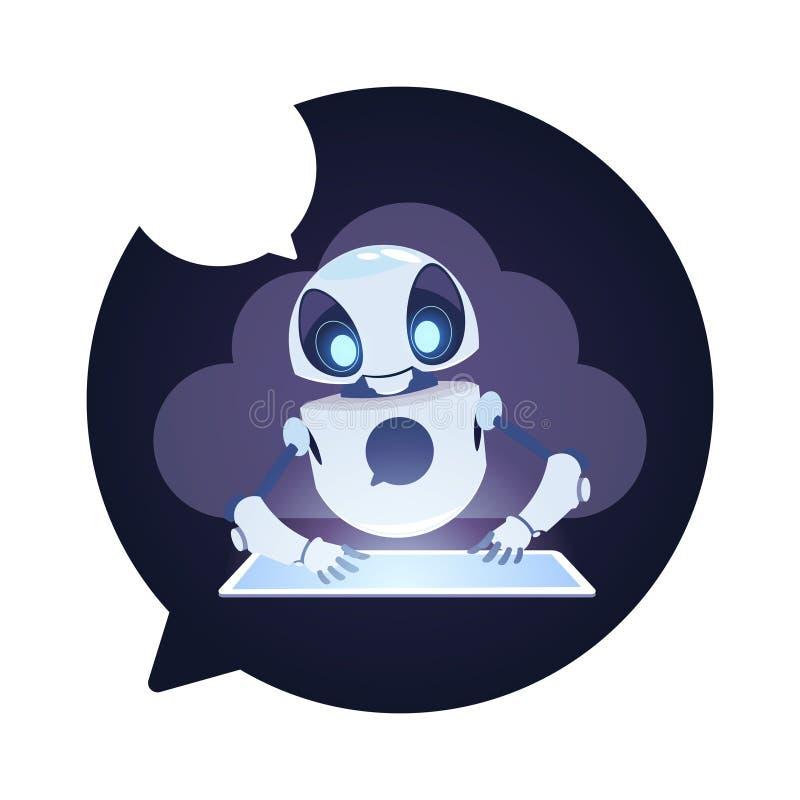 Questions d'utilisateurs de réponse de Bot de broutement d'icône de robot de Chatbot utilisant le concept virtuel d'aide de Table illustration libre de droits