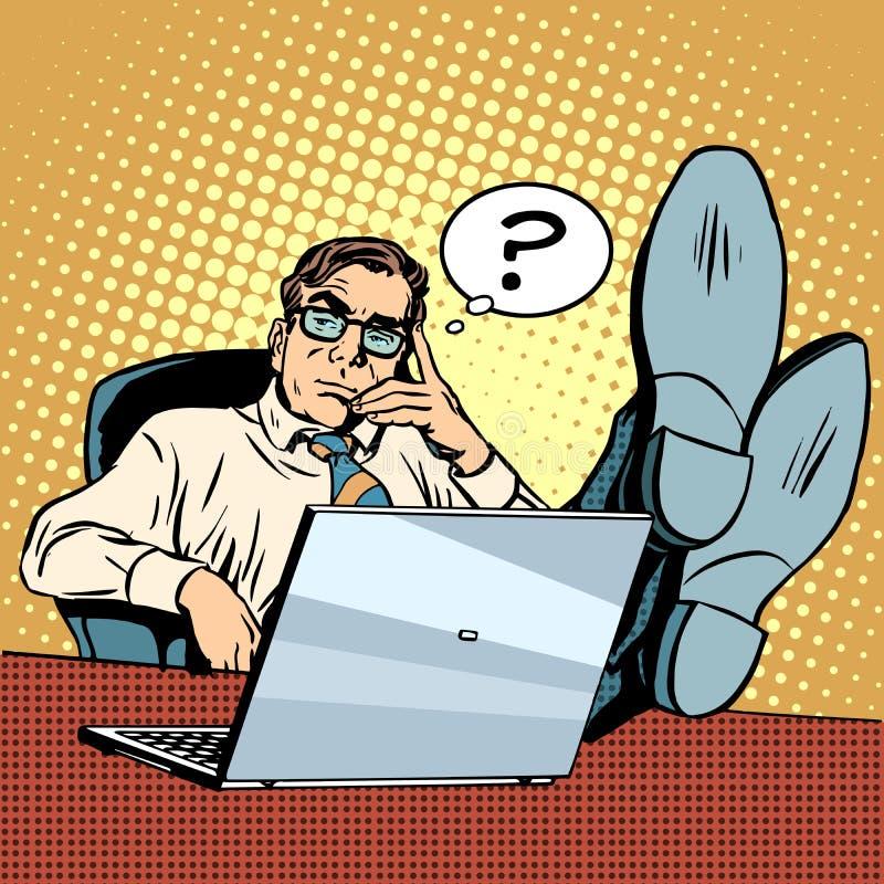 Questions et pensées l'homme d'affaires à l'ordinateur portable illustration libre de droits