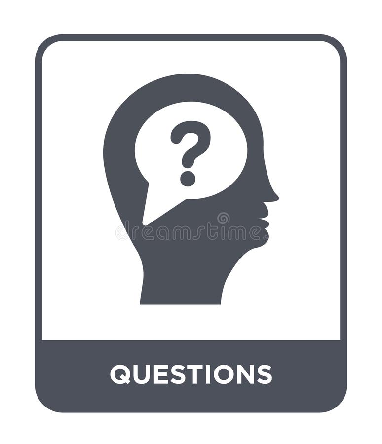 Questions icon in trendy design style. questions icon isolated on white background. questions vector icon simple and modern flat. Symbol for web site, mobile vector illustration