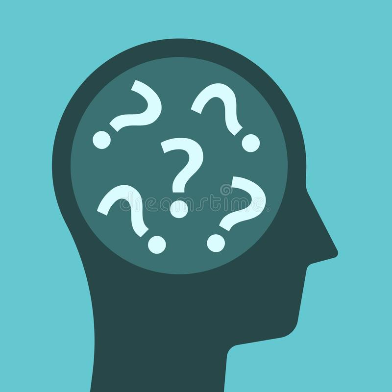 Questions inside head silhouette stock illustration