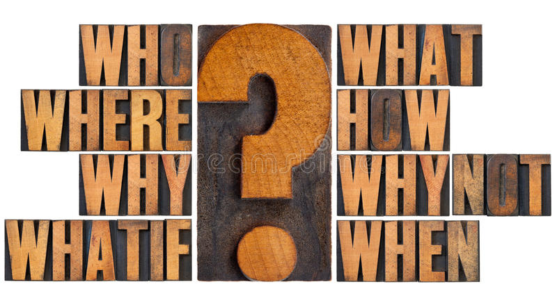 Questions in letterpress wood type. Brainstorming or decision making concept - who, what, where, when, why, how, whatif and why not questions - a collage of royalty free stock photo