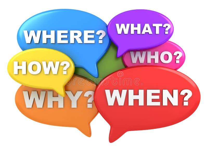 Questions multicolour stock images