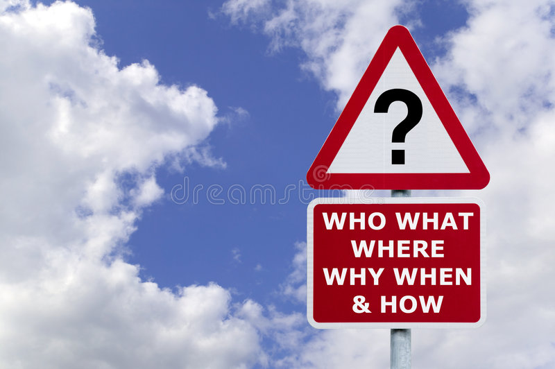 Questions signpost in the sky royalty free stock photos