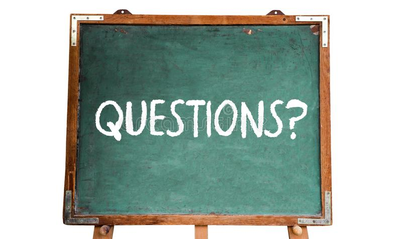 Questions? text word message in white chalk written on a green old grungy vintage wooden chalkboard or blackboard with frame stock photos