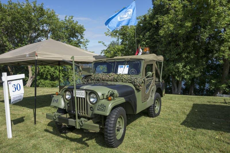 Questo veicolo utilitario della piccola trazione integrale è considerato la jeep iconica della seconda guerra mondiale ed ha ispi immagini stock libere da diritti