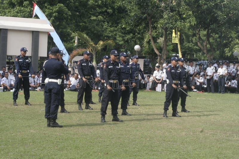 Questura dei responsabili della sicurezza dell'unità di esercizio che costruisce a Surakarta immagini stock