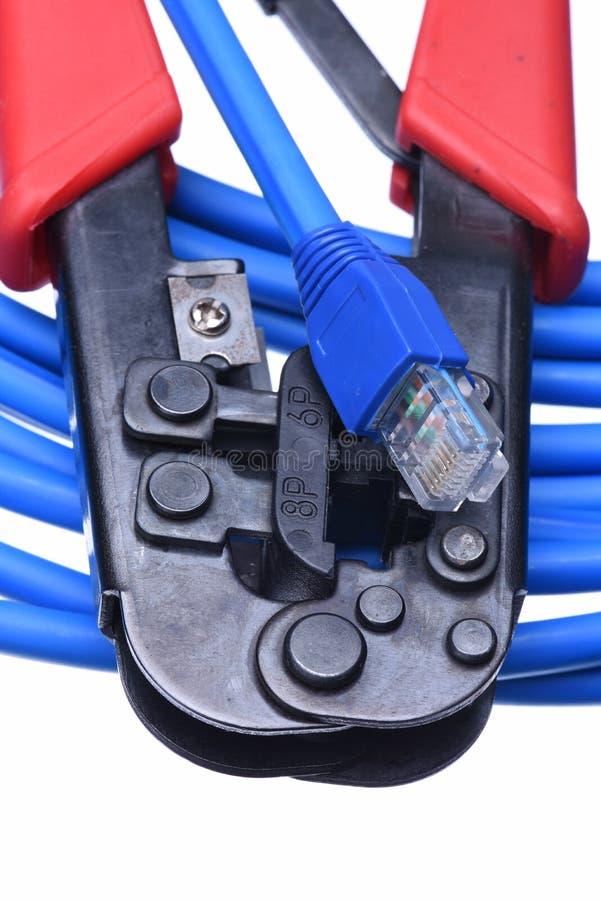 Quetschwerkzeug mit Netzkabel lizenzfreies stockfoto