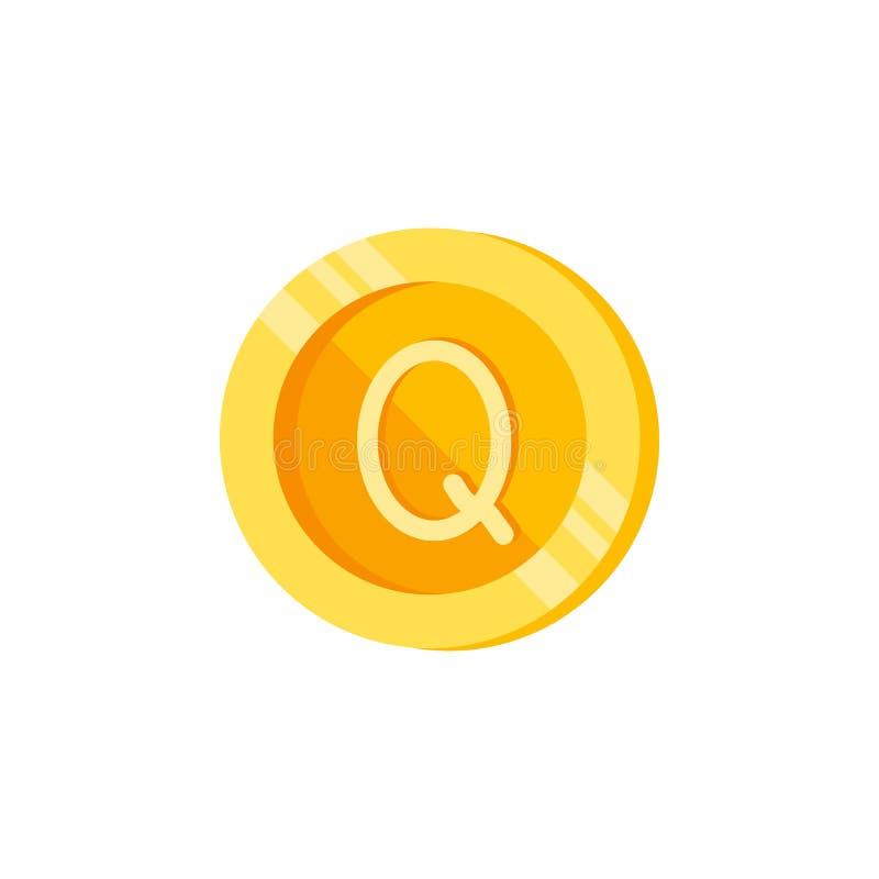 Quetzal, pièce de monnaie, icône de couleur d'argent Élément des signes de finances de couleur Icône de la meilleure qualité de c illustration libre de droits