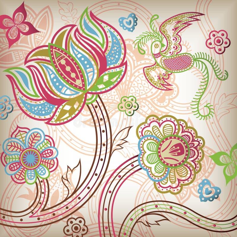 Quetzal y extracto florales libre illustration