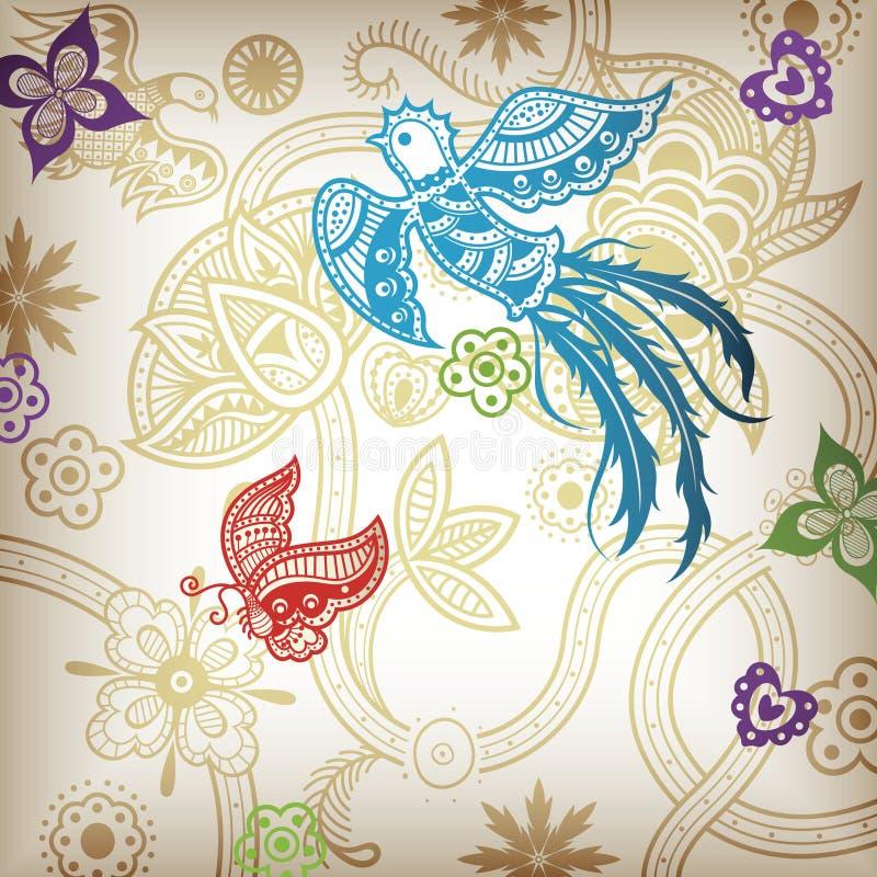 Quetzal y floral stock de ilustración