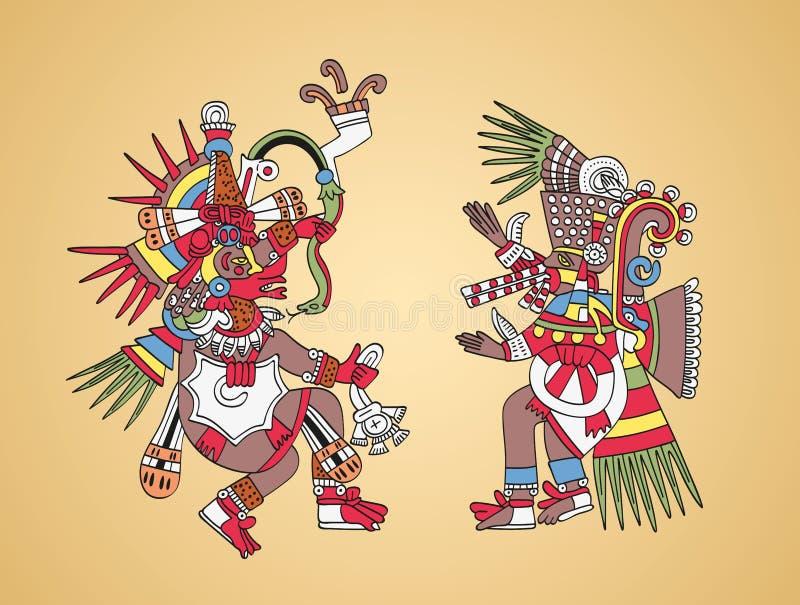 Quetzalcoatl и Tezcatlipoca, ацтекские боги и брат-близнецы иллюстрация вектора