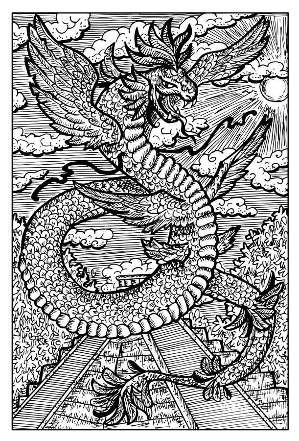 Quetzalcoatl, Azteca emplumó a dios de la serpiente, ejemplo dibujado mano ilustración del vector
