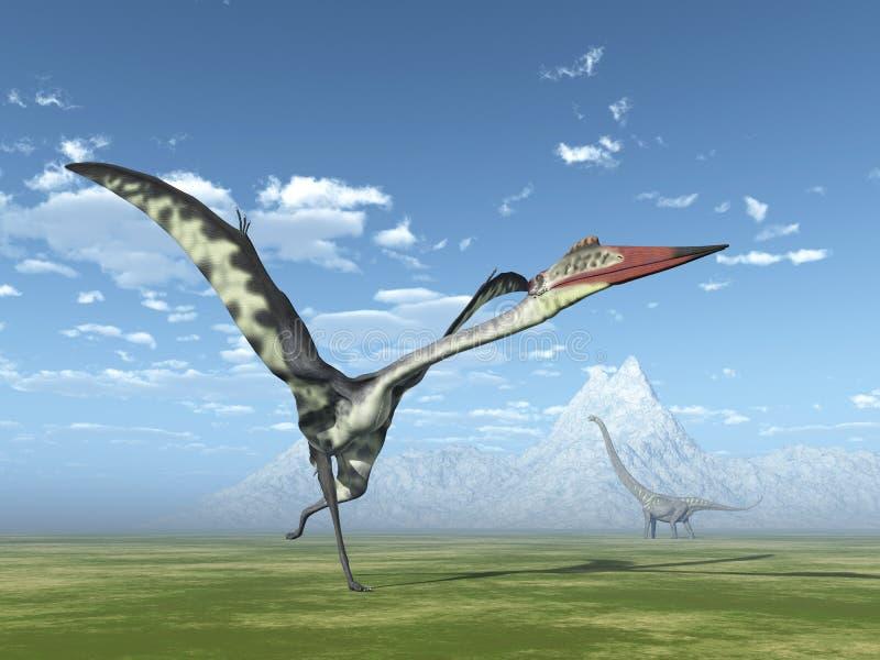 Quetzalcoatlus e Mamenchisaurus ilustração stock