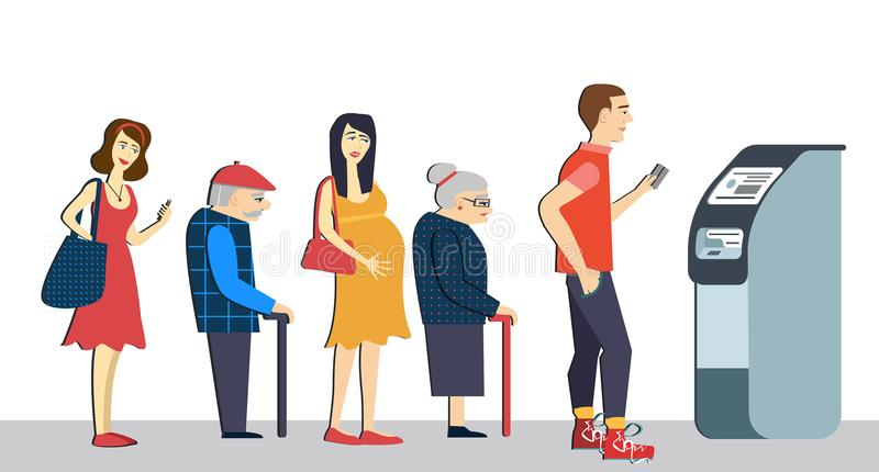 Queue at the ATM.Disgruntled people are standing in line for an isolated background.Senior, pregnant woman in queue. terminal m stock illustration