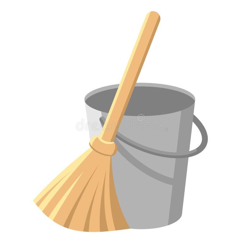Queue avec poignée et baguette. Position et balai. Outils ménagers pour nettoyer les ordures. ?l?ments de service de nettoyage illustration libre de droits