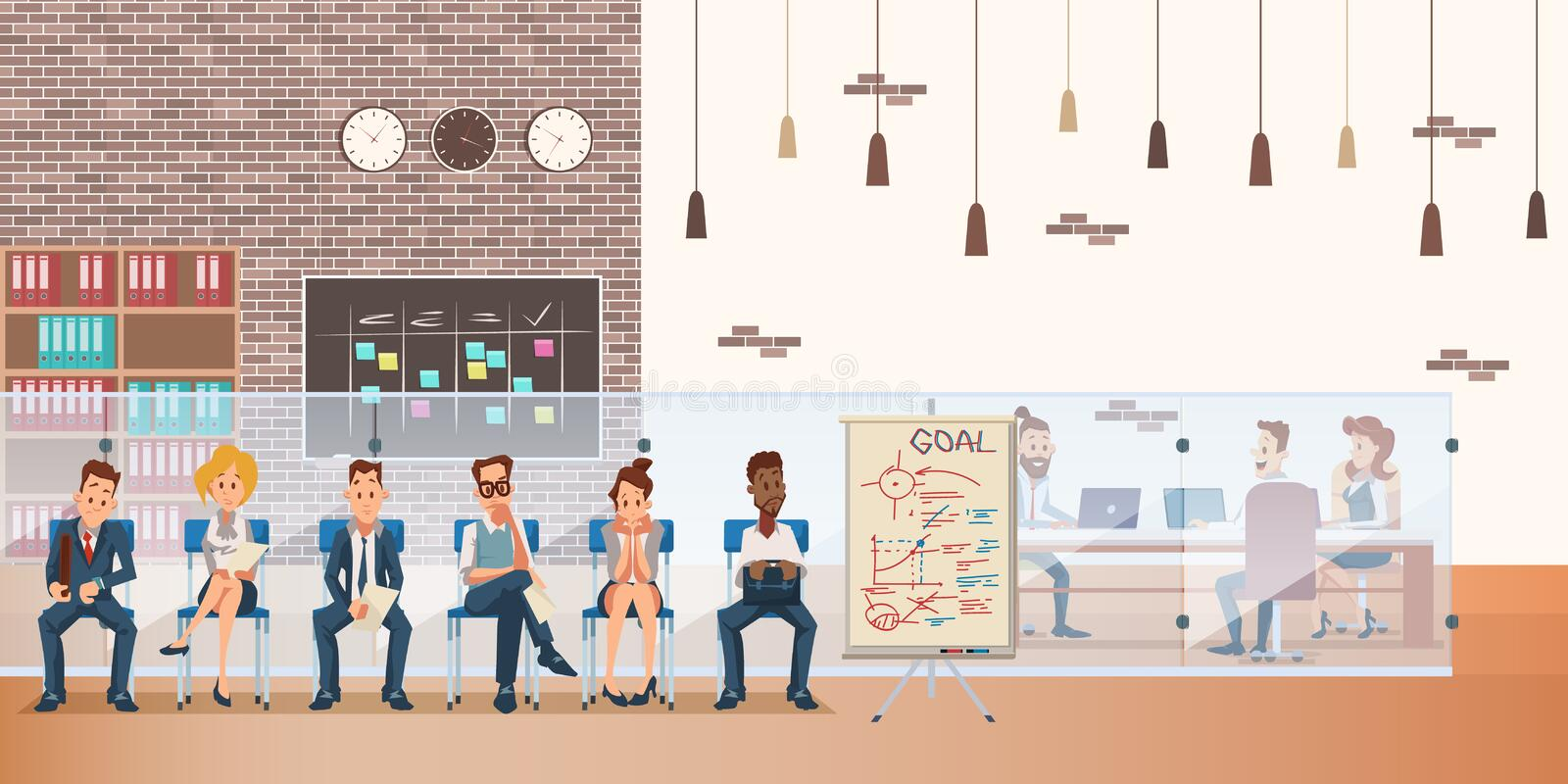 Queue of Candidate on Chair Wait for Job Interview. Group in Waiting Office Room. Nervous Employee Character Wear Formal Suit. Coworking Space Interior royalty free illustration