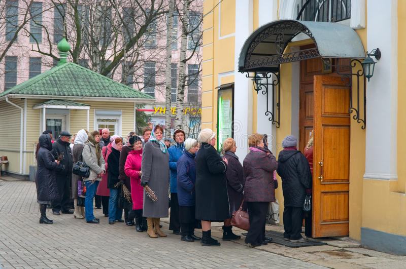 Queue In The Church In Easter Sunday Editorial Photography