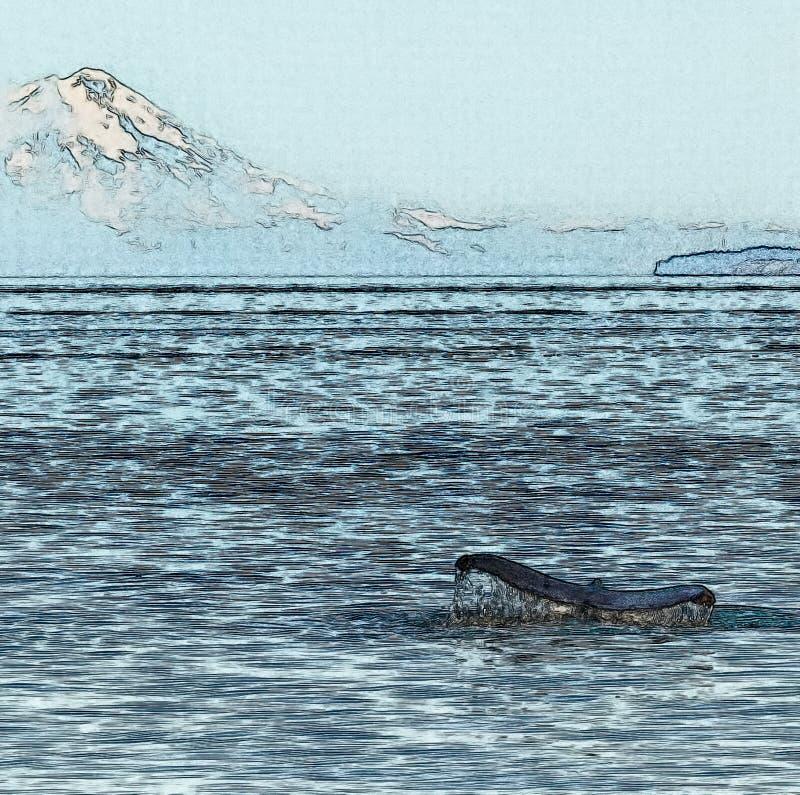 Queue de baleine de bosse devant le volcan photos libres de droits
