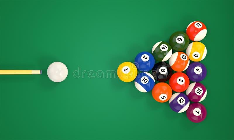 Queue de billard et boules de piscine illustration libre de droits