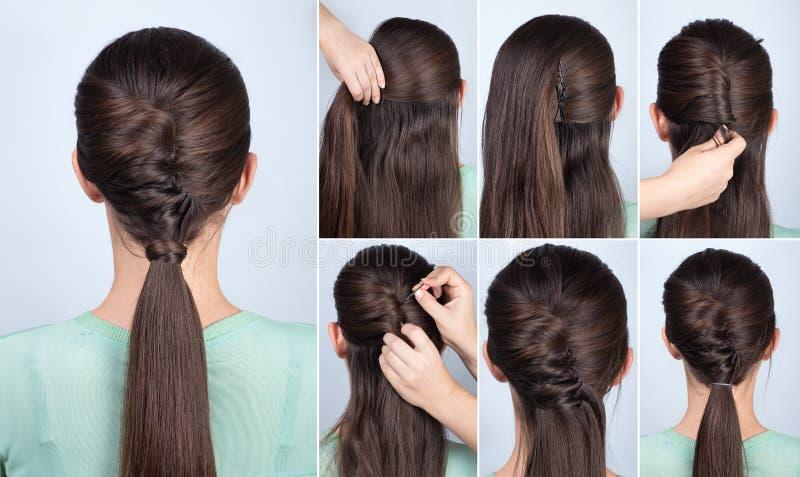 Queue de cheval de coiffure avec le cours de cheveux de torsion image stock