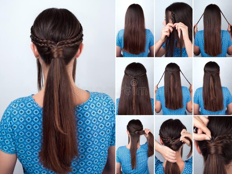 Queue de poney facile de coiffure avec le cours de cheveux de tresses photos stock