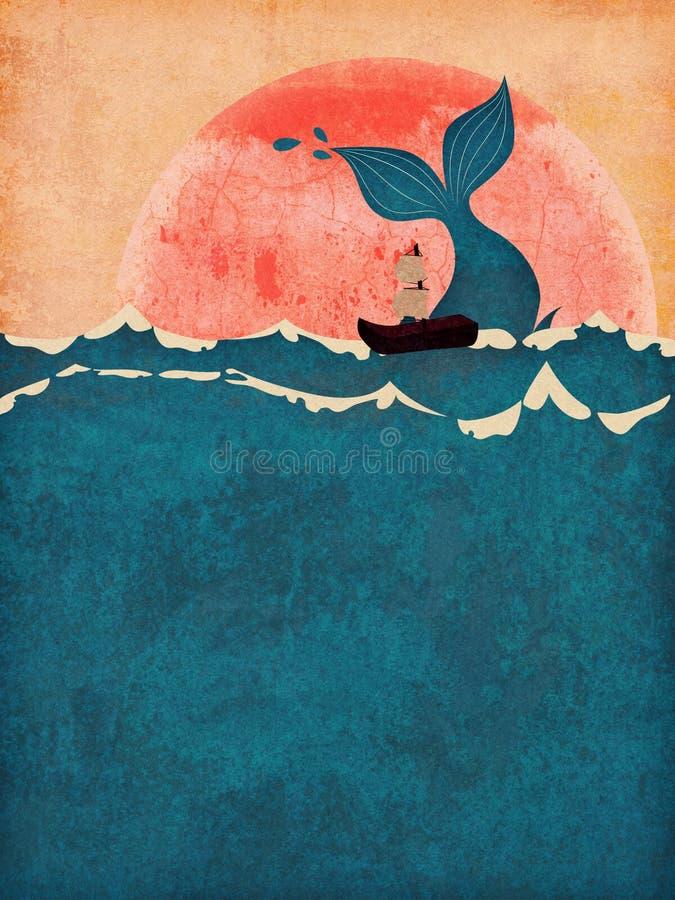Queue grunge de baleine en mer illustration de vecteur