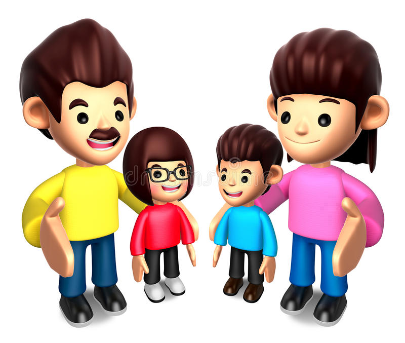 Download Queue With The Happy A Family. 3D Family Character Stock Illustration - Image: 27024501
