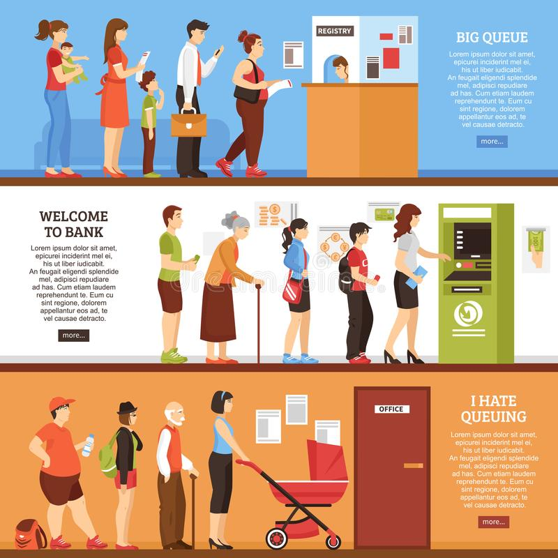 Queue Horizontal Banners Set. With ATM and office symbols flat isolated vector illustration vector illustration