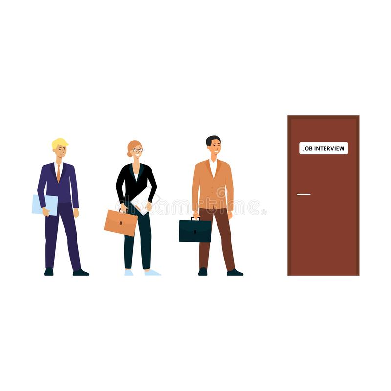 Queue for job interview, happy cartoon character people in business attire standing in line for door. Office work candidates waiting for turn - isolated flat royalty free illustration